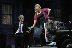 L-R Andrew Schofield and Lindzi Germain, as Joe and Doe, with cab driver, played by Chris Darwin, in Night Collar (picture taken by Dave Evans)